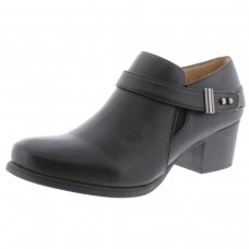 Women Bootice Black Chaylee Womens Faux Leather Stacked Booties Holiday CVSNW7094