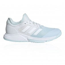 adidas Court Team Bounce Women's Indoor Court Shoes Blue, White In Wide Width CZCD718