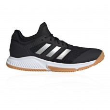 adidas Court Team Bounce Women's Indoor Court Shoes Core Black/Silver Met./Ftwr White In Narrow Width in style HDPA514