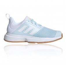 adidas Essence Women's Indoor Court Shoes - AW20 Blue, White In Narrow Width new in CCWN489