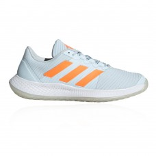 adidas Force Bounce Women's Indoor Court Shoes Sky Tint/Signal Orange/Ftwr White In Narrow Sizes Shop KXUF242