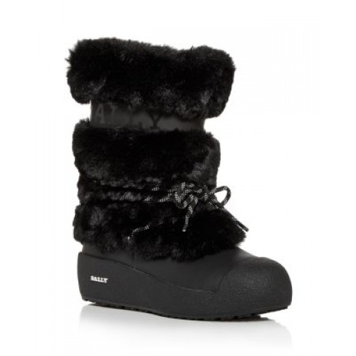 Bally Young Women's Women's Galy Faux Fur Boots Black ZOKT897