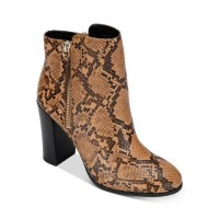 Kenneth Cole Womens Women's Justin Zip Booties Tan Snake Embossed Leather On Line WLKA174