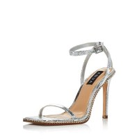 AQUA Womens Women's Dolly Strappy Sandals - 100% Exclusive Silver Snake on clearance JSZT385