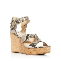 Jimmy Choo Young Women's Women's Aleili 100 Snake-Embossed Platform Wedge Sandals Natural DYMQ577