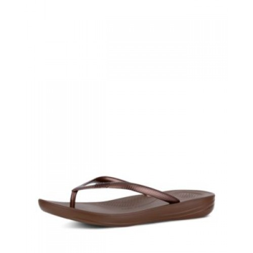 FitFlop Women's Women's iQushion Snake Embossed Sandals Bronze QMIQ437
