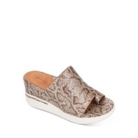 Gentle Souls by Kenneth Cole Womens Women's Gisele Sporty Wedge Slide Sandals Antique Gold Snake Leather XPHU190