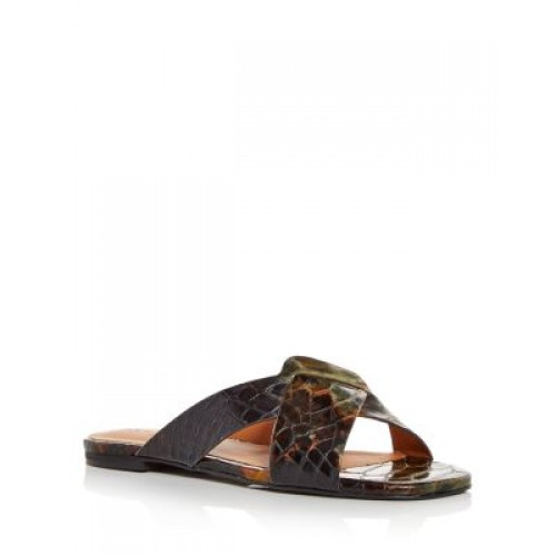 Clergerie Young Women's Women's Issys Snake-Embossed Slide Sandals Olive Snake Calf wholesale TEON892