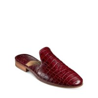 Jack Rogers Young Women's Women's Delaney Leather Mules Burgundy Croc Embossed Leather Number 1 Selling UQZV913