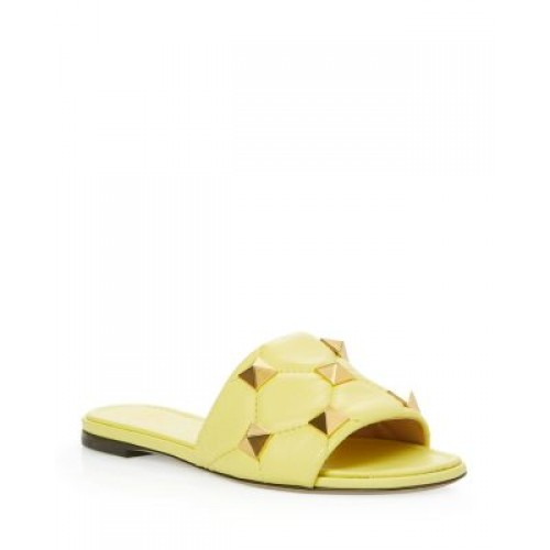 Valentino Garavani Women Valentino Garavani Women's Roman Stud Quilted Slide Sandals Lime in new look VFIL486